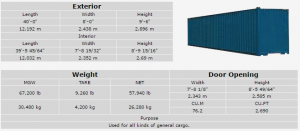 40 High steel dary cargo container
